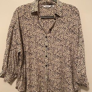 & other stories 3/4 sleeve floral button down